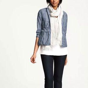 Eileen Fisher Peplum Blazer Jacket Chambray | L